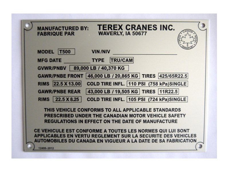 Custom metal nameplates industrial equipment nameplates - Brass name plate designs for home ...